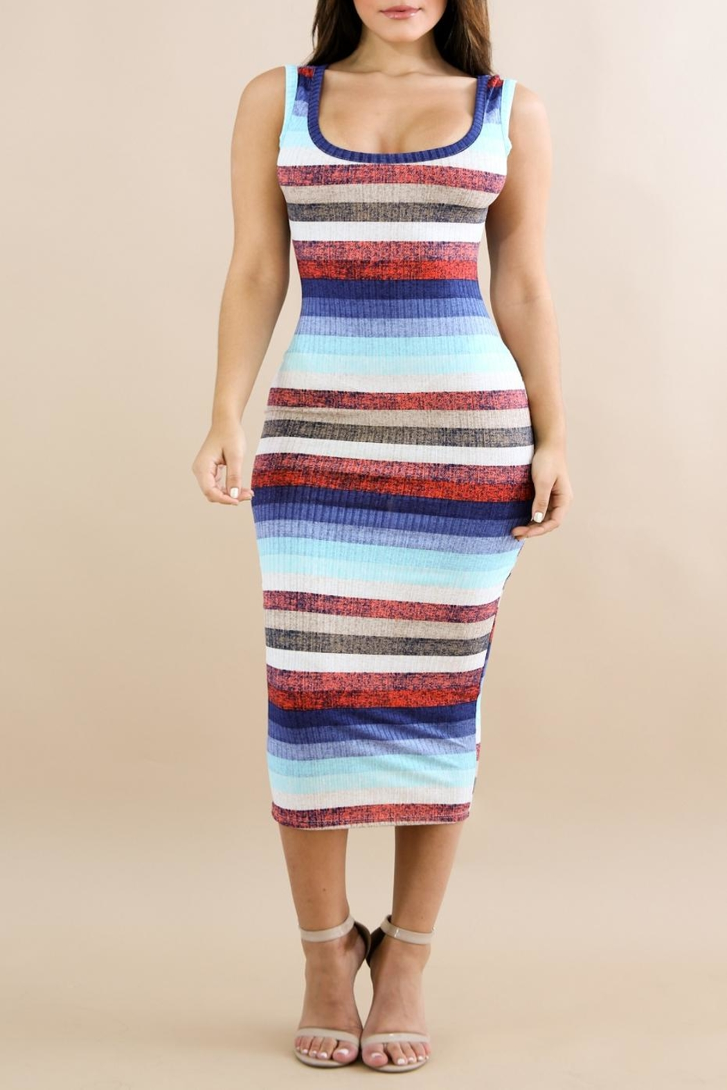 Good Time Stripe Midi Dress - Front Cropped Image