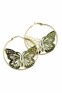 Shoptiques Product: Gold Butterfly Earrings
