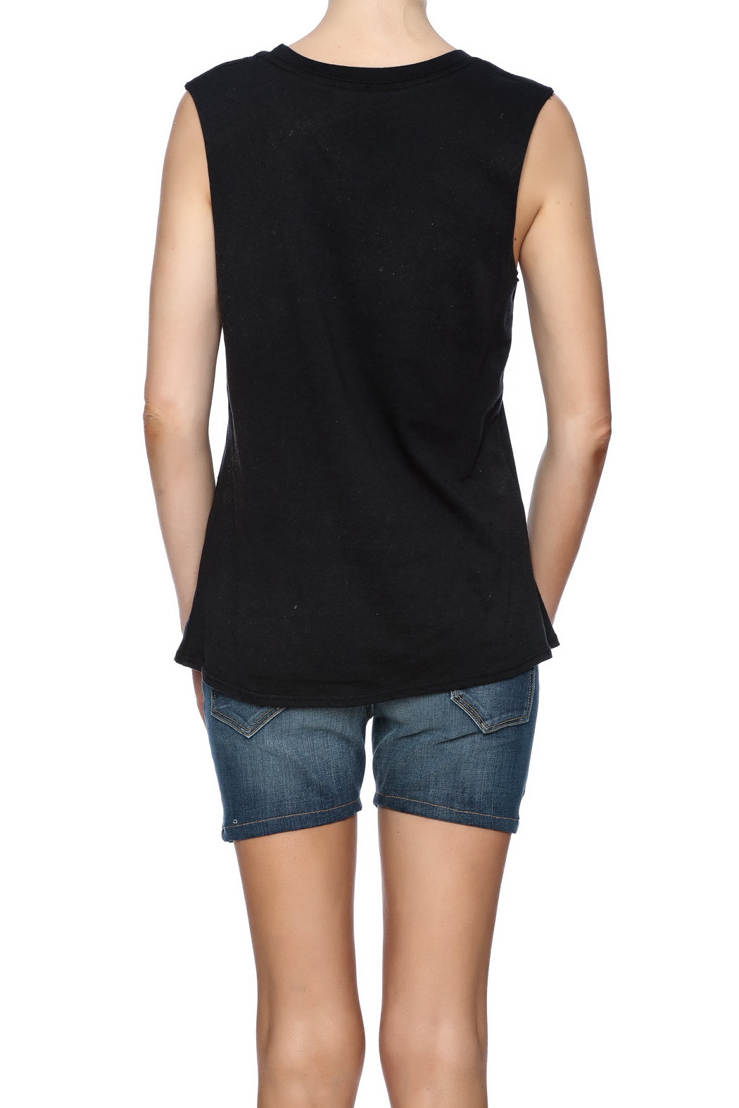 Goodie Two Sleeves Sleeveless Tee - Back Cropped Image