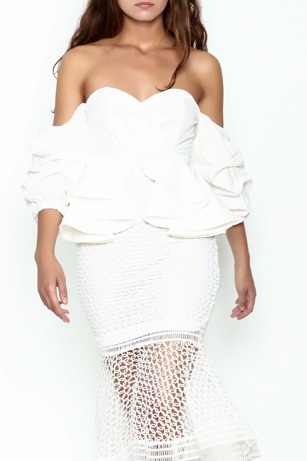 Goodtime Fishnet Off Shoulder Dress - Front Cropped Image