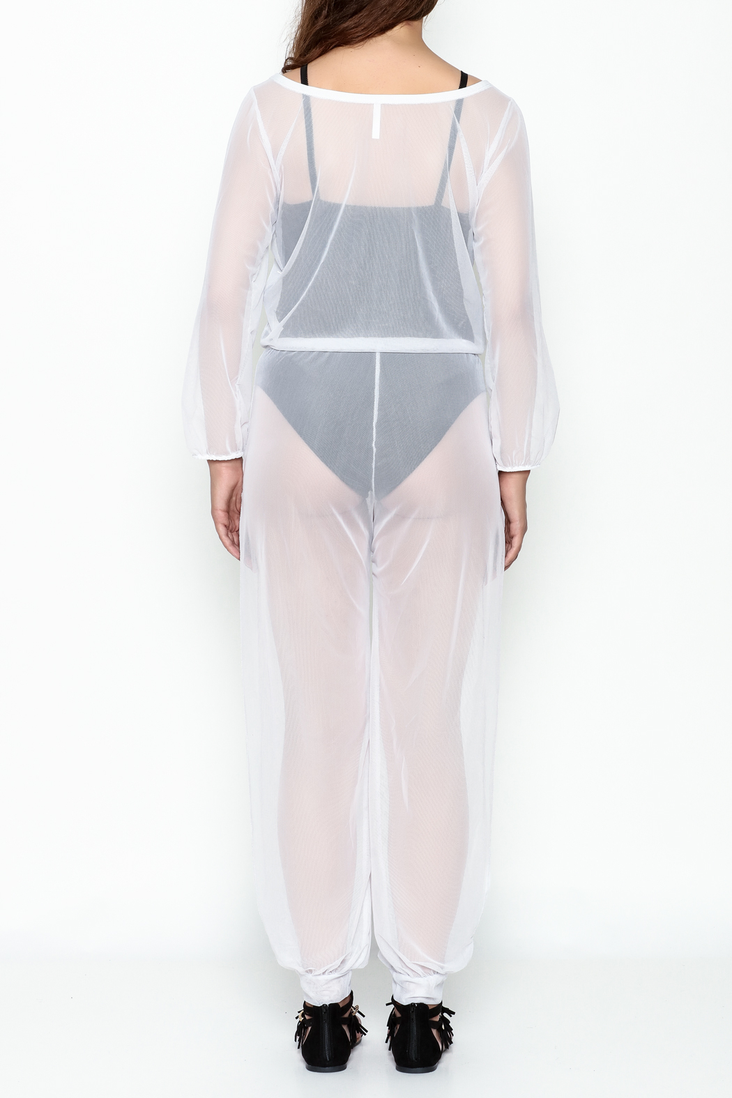Goodtime Mesh Coverup Jumpsuit - Back Cropped Image