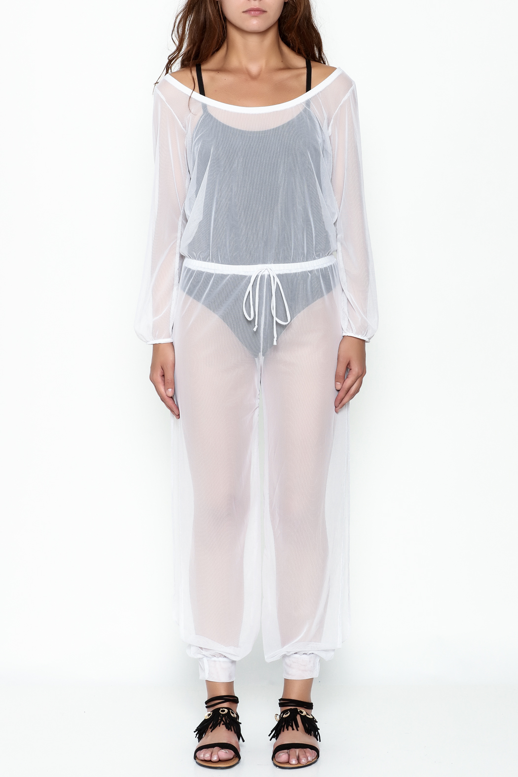 Goodtime Mesh Coverup Jumpsuit - Front Full Image