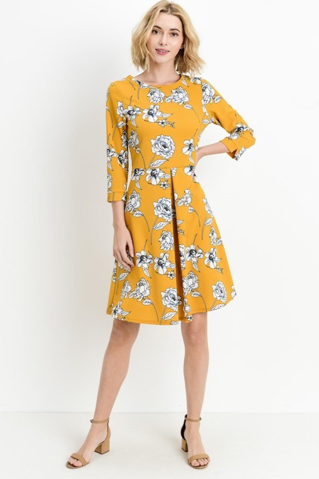 Les Amis Gorgeous Mustard-Floral Dress - Side Cropped Image