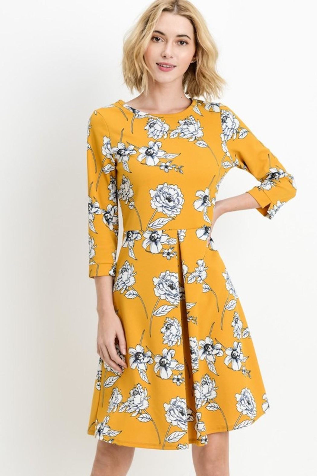 Les Amis Gorgeous Mustard-Floral Dress - Front Cropped Image