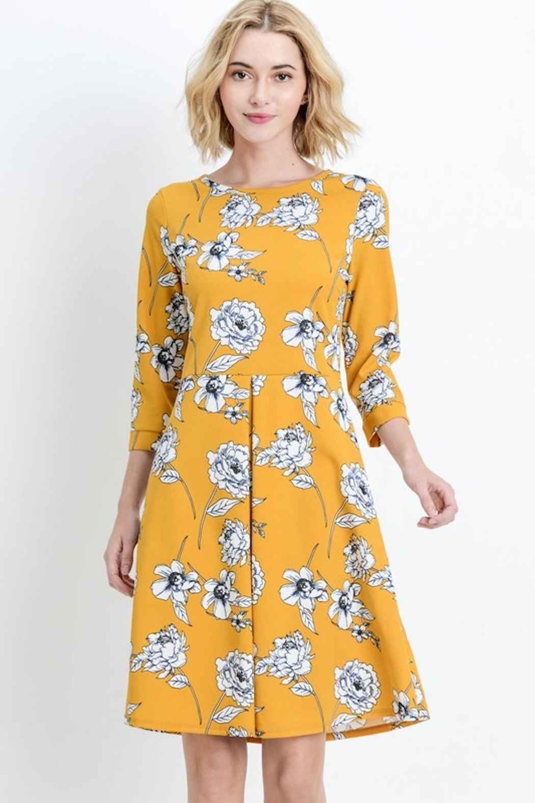 Les Amis Gorgeous Mustard-Floral Dress - Back Cropped Image