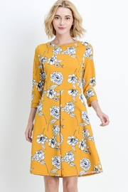Les Amis Gorgeous Mustard-Floral Dress - Back cropped