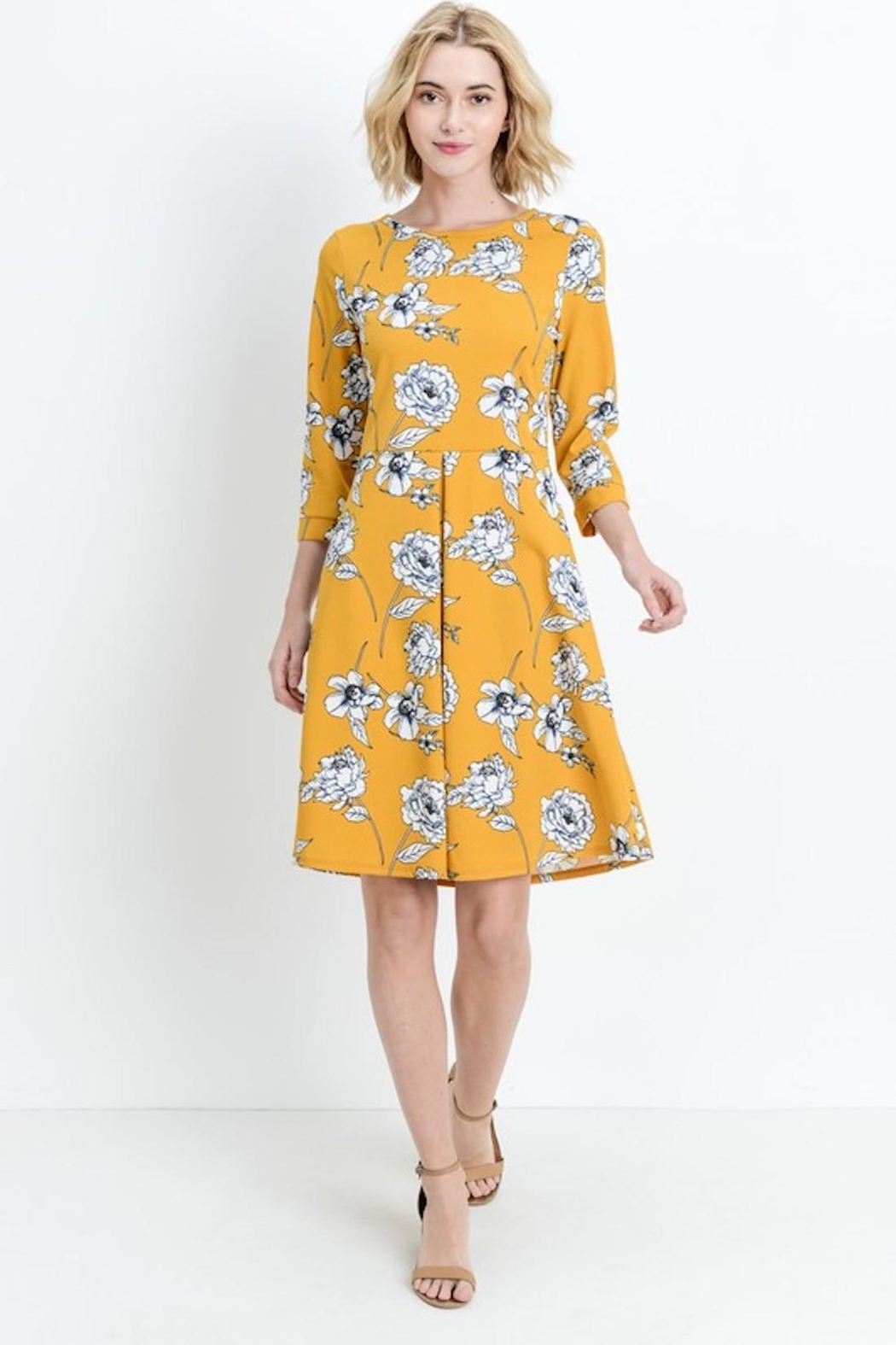 Les Amis Gorgeous Mustard-Floral Dress - Front Full Image