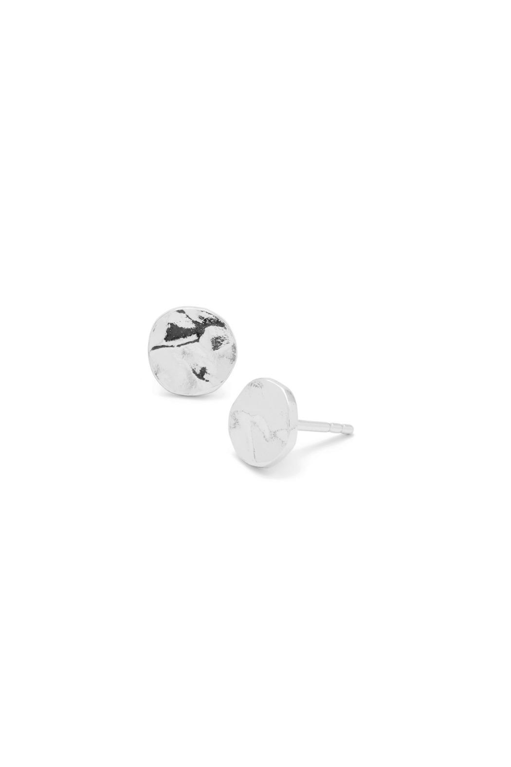 Gorjana Silver Hammered Stud Earrings - Front Cropped Image