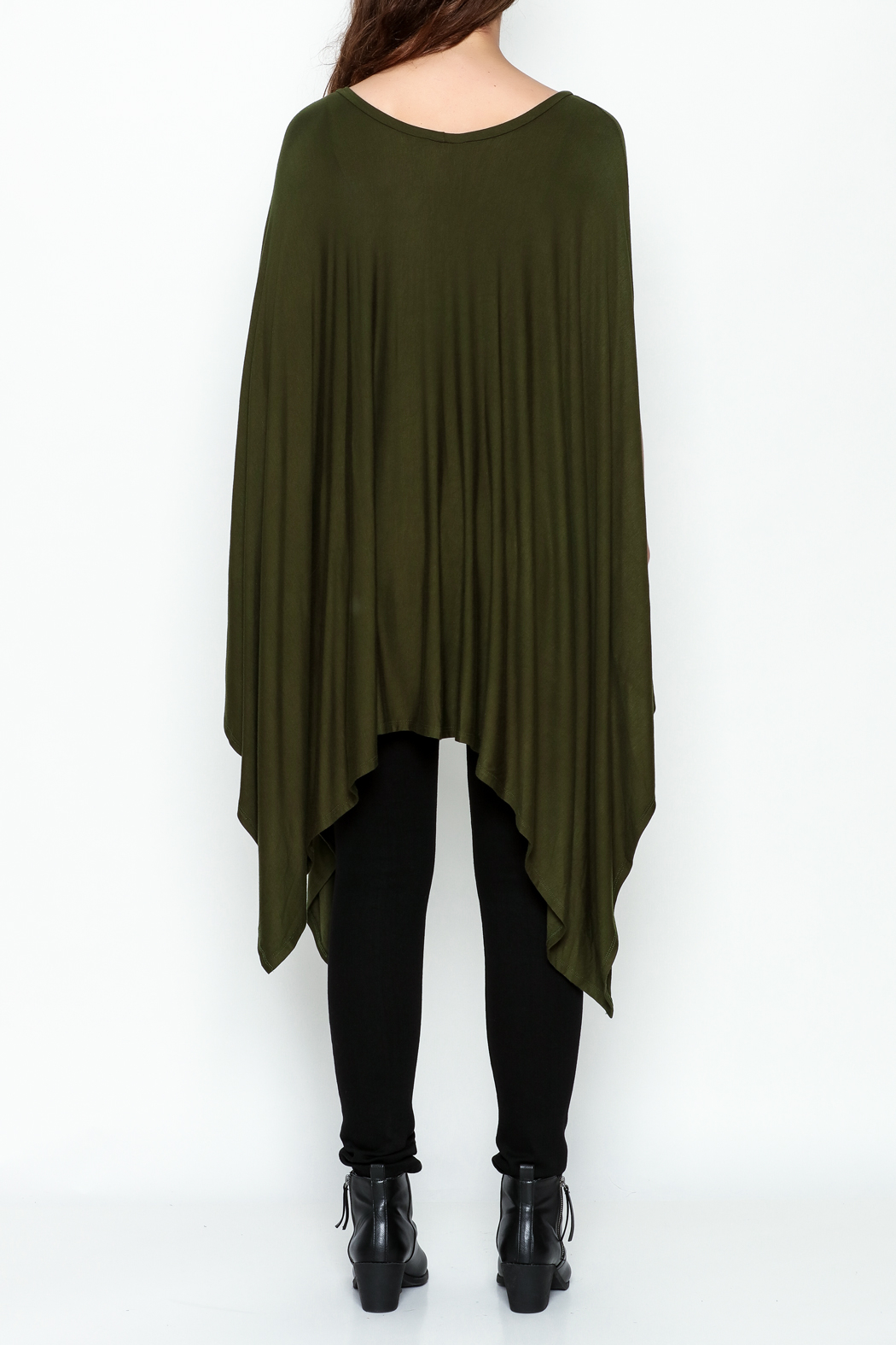 Got Style Olive Sleeveless Poncho - Back Cropped Image