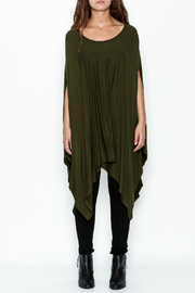 Got Style Olive Sleeveless Poncho - Front full body