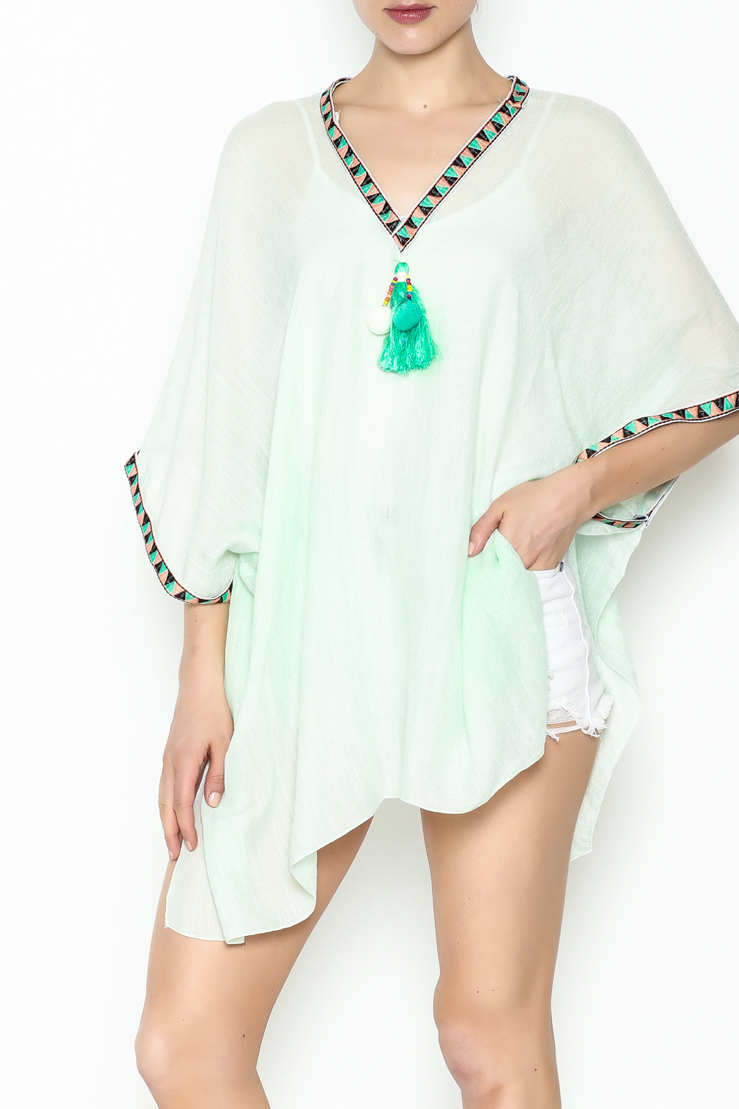 Grace & Emma Boho Cover-Up Top - Front Cropped Image
