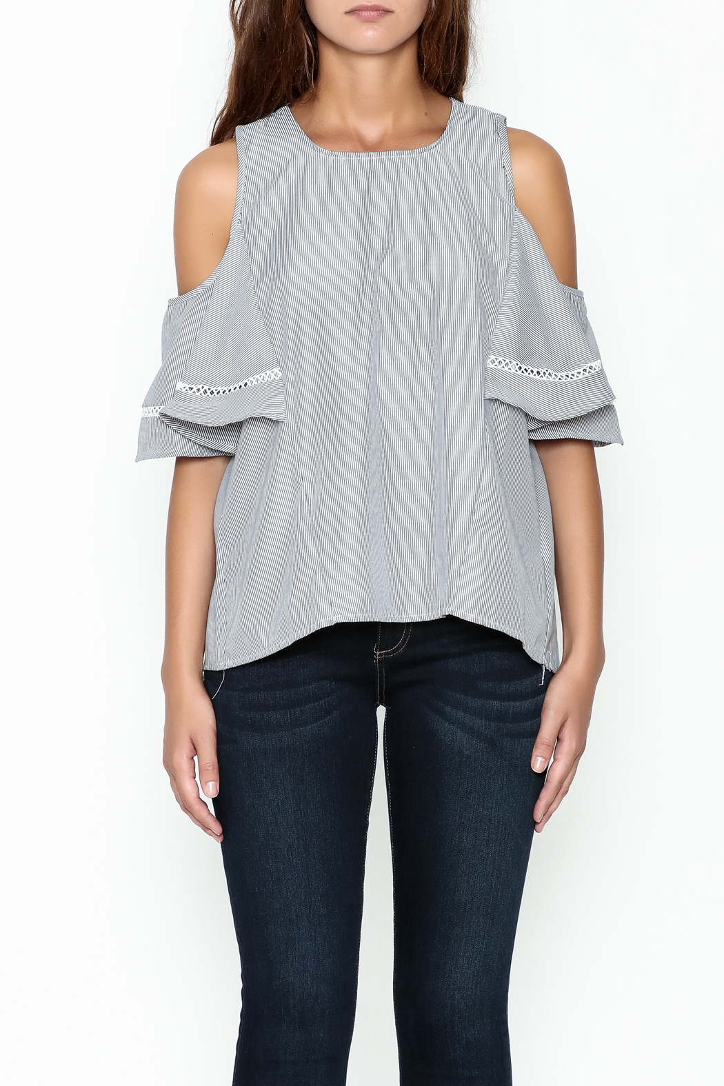 Grace & Emma Grey Cold Shoulder Top - Front Full Image