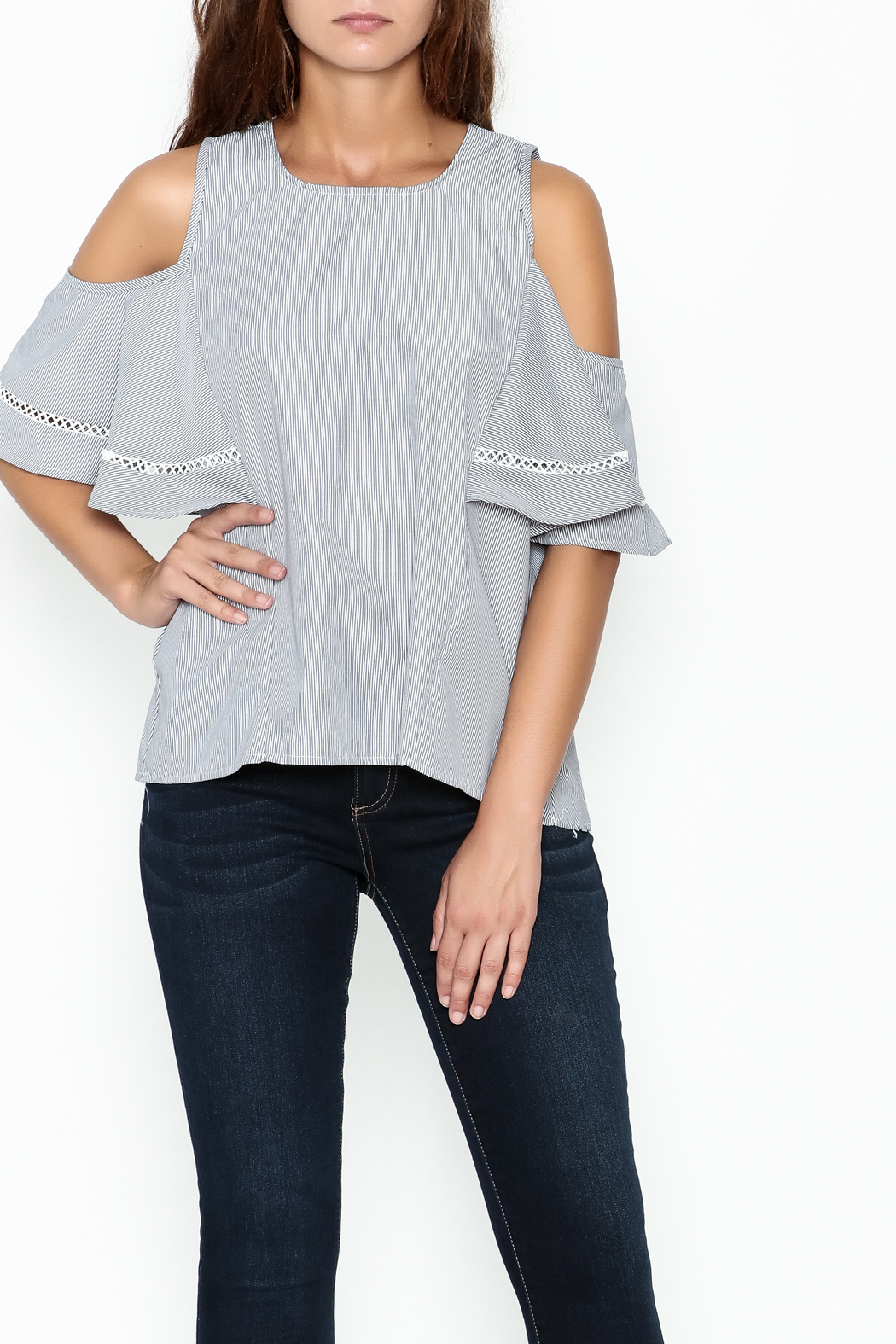 Grace & Emma Grey Cold Shoulder Top - Main Image
