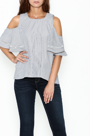 Grace & Emma Grey Cold Shoulder Top - Front cropped