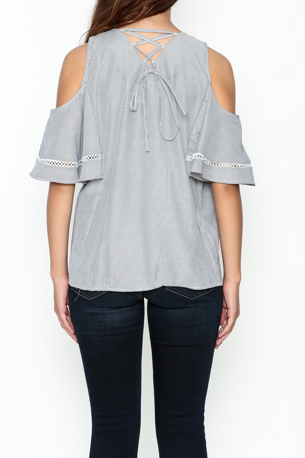 Grace & Emma Grey Cold Shoulder Top - Back Cropped Image