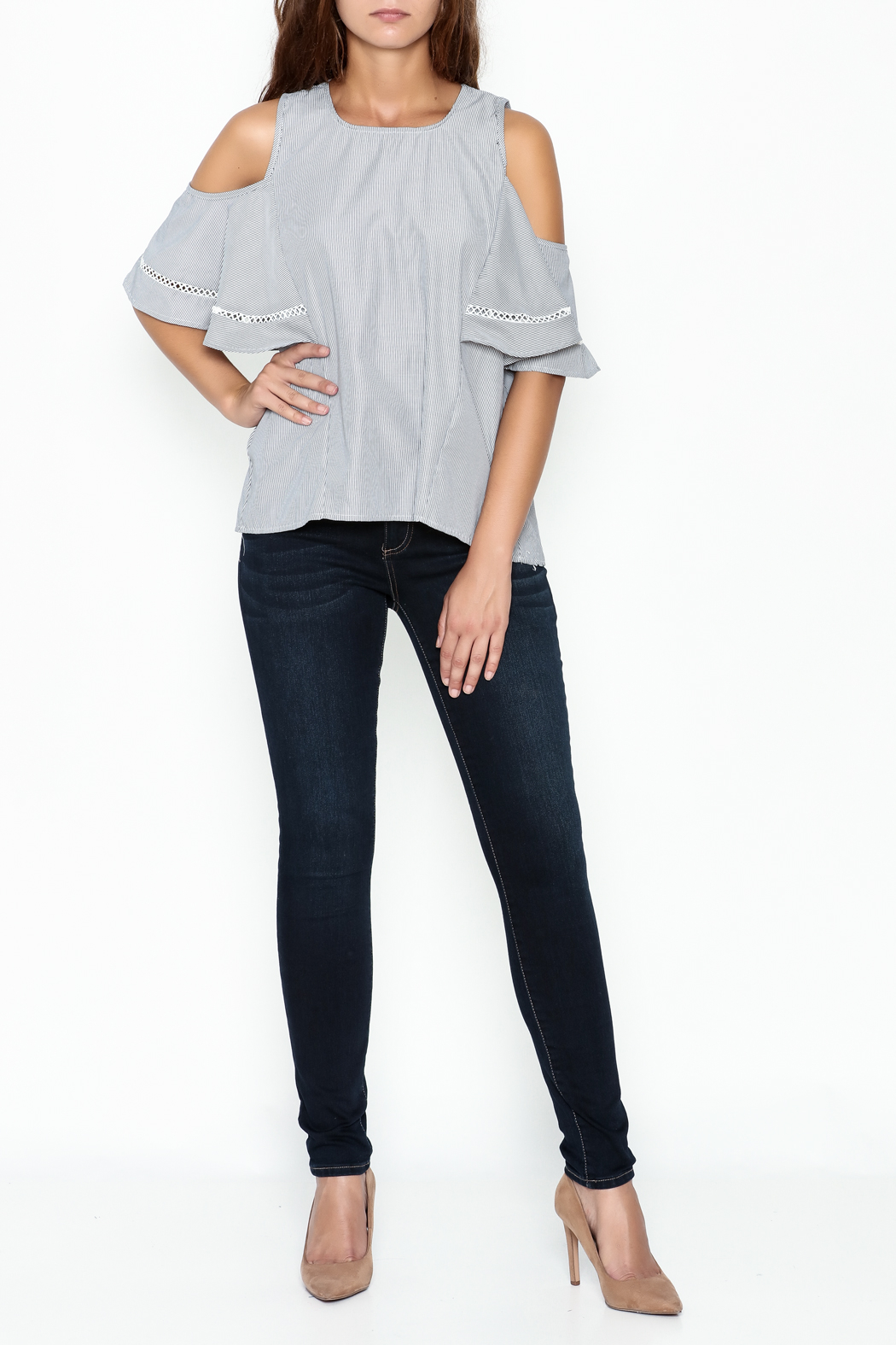 Grace & Emma Grey Cold Shoulder Top - Side Cropped Image