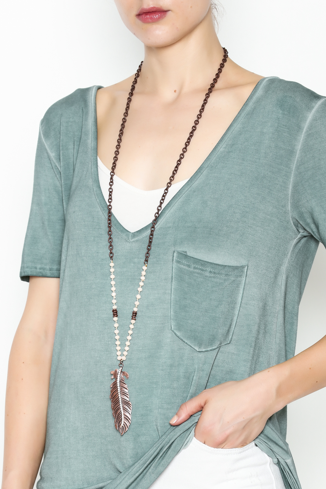 Southern Living Copper Feather Necklace - Main Image