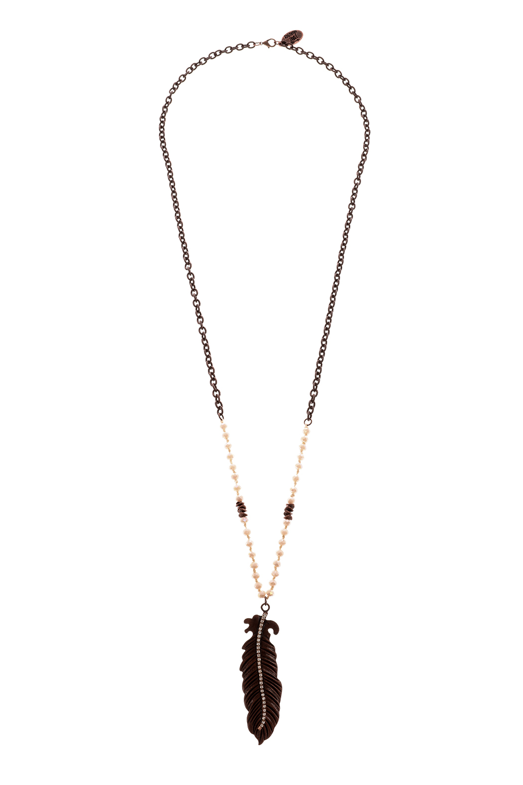 Southern Living Copper Feather Necklace - Front Cropped Image