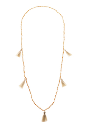 Grace & Emma Cream Tassel Necklace - Front cropped