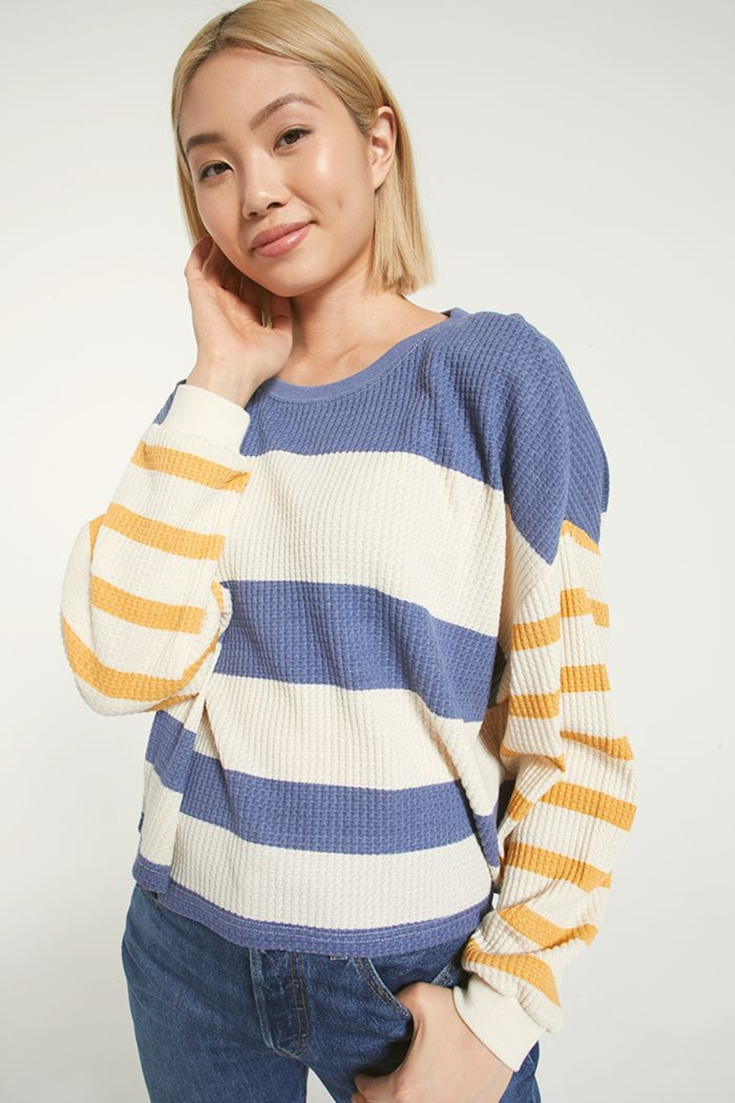 z supply Grace Striped Long Sleeve - Front Cropped Image