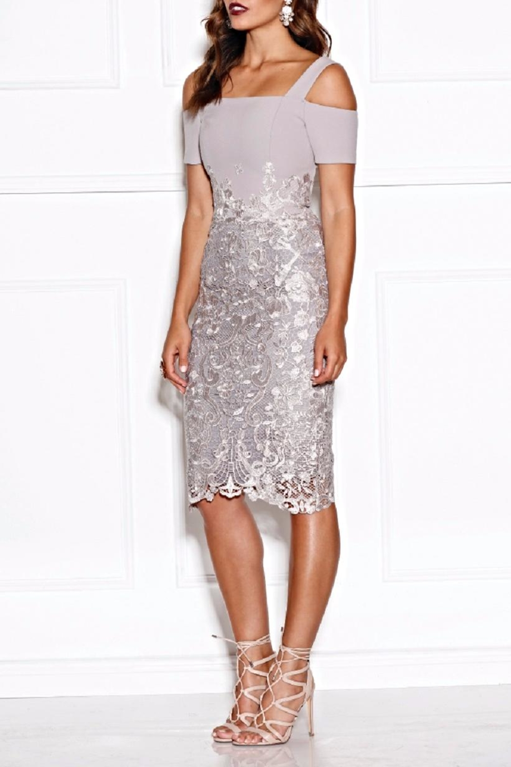 Grace & Hart Silver Lace Dress - Front Full Image
