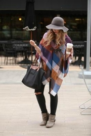 Grace & Lace Blanket-Scarf/toggle Poncho - Front full body