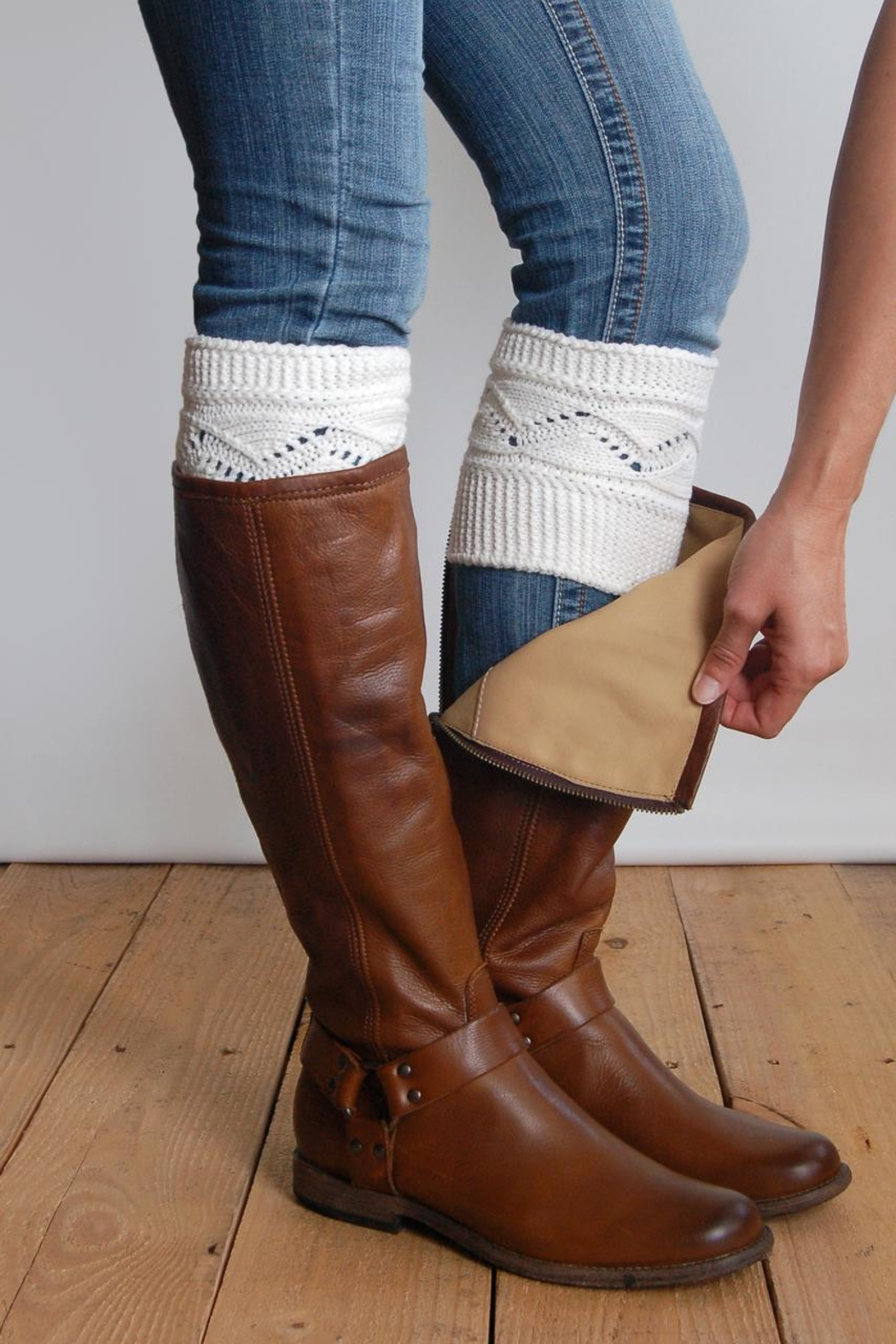 Grace & Lace Cableknit Boot Cuffs - Front Cropped Image