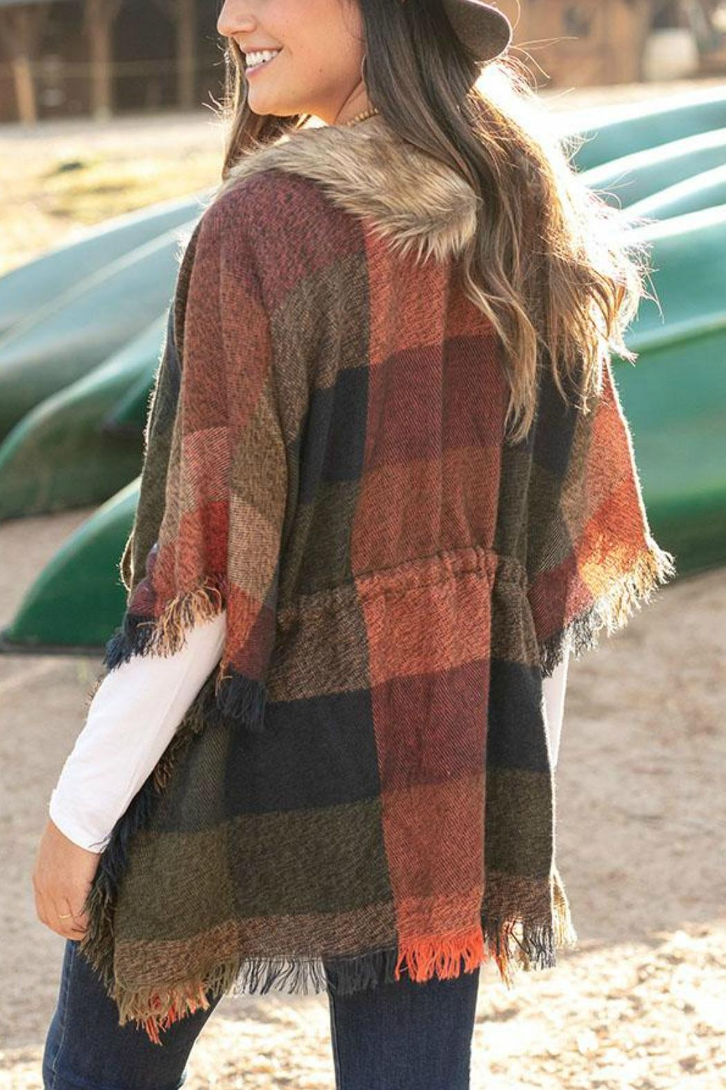 Grace & Lace Faux-Fur Collar Poncho - Front Full Image