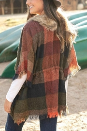 Grace & Lace Faux-Fur Collar Poncho - Front full body
