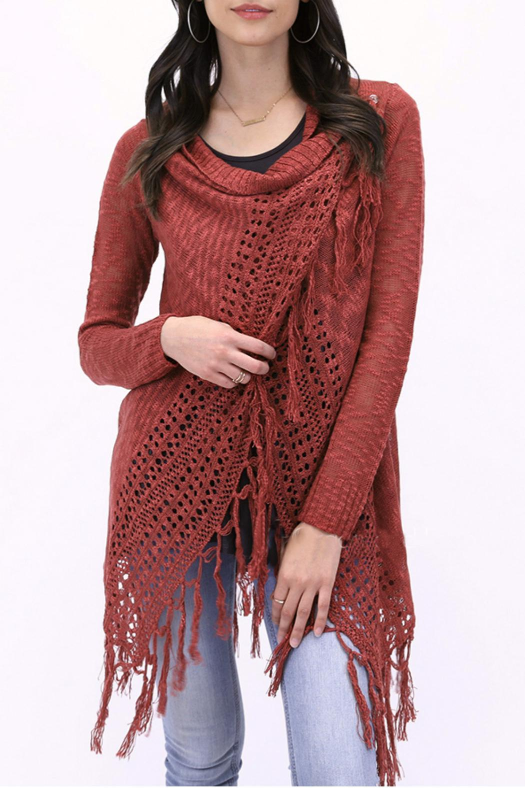 debe9db8618 Grace   Lace Fringe Knit Cardigan from Texas by Westmont Gallery ...