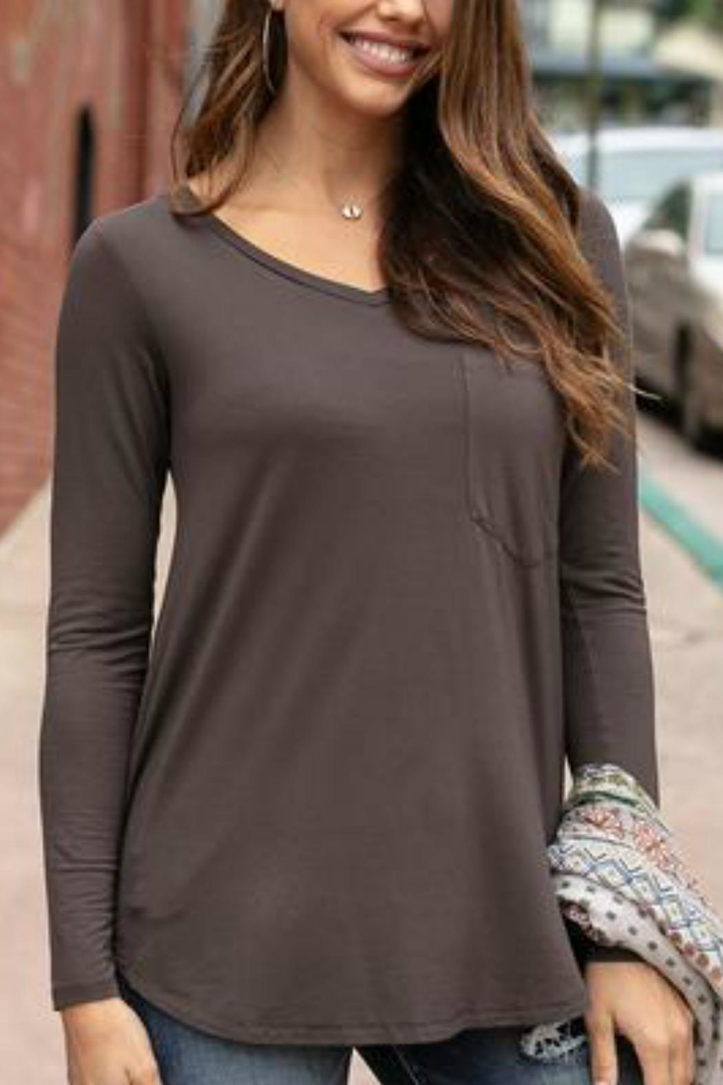 Grace & Lace Perfect Pocket/tee-Portabello - Front Full Image