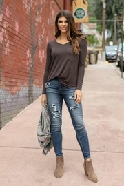 Grace & Lace Perfect Pocket/tee-Portabello - Front cropped