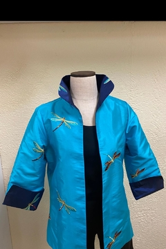 Grace Chuang Reversible Embroidered-Dragonfly Coat - Product List Image