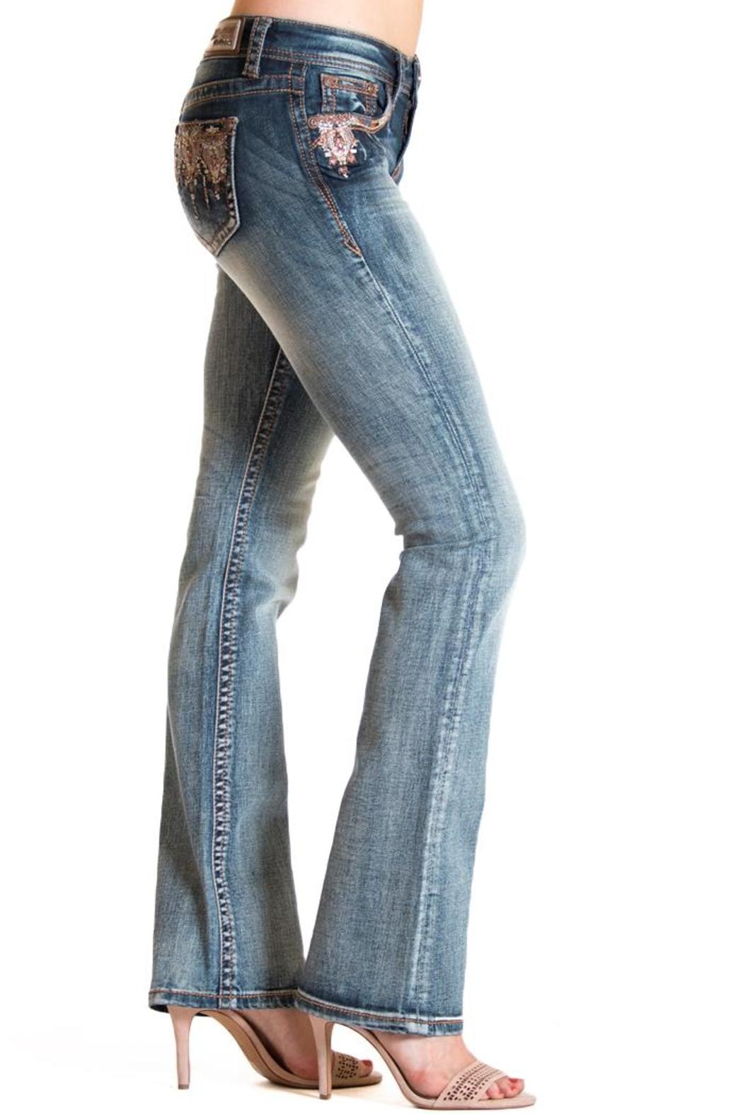 Grace in L.A. Boho Detail-Pocket Bootcut - Back Cropped Image
