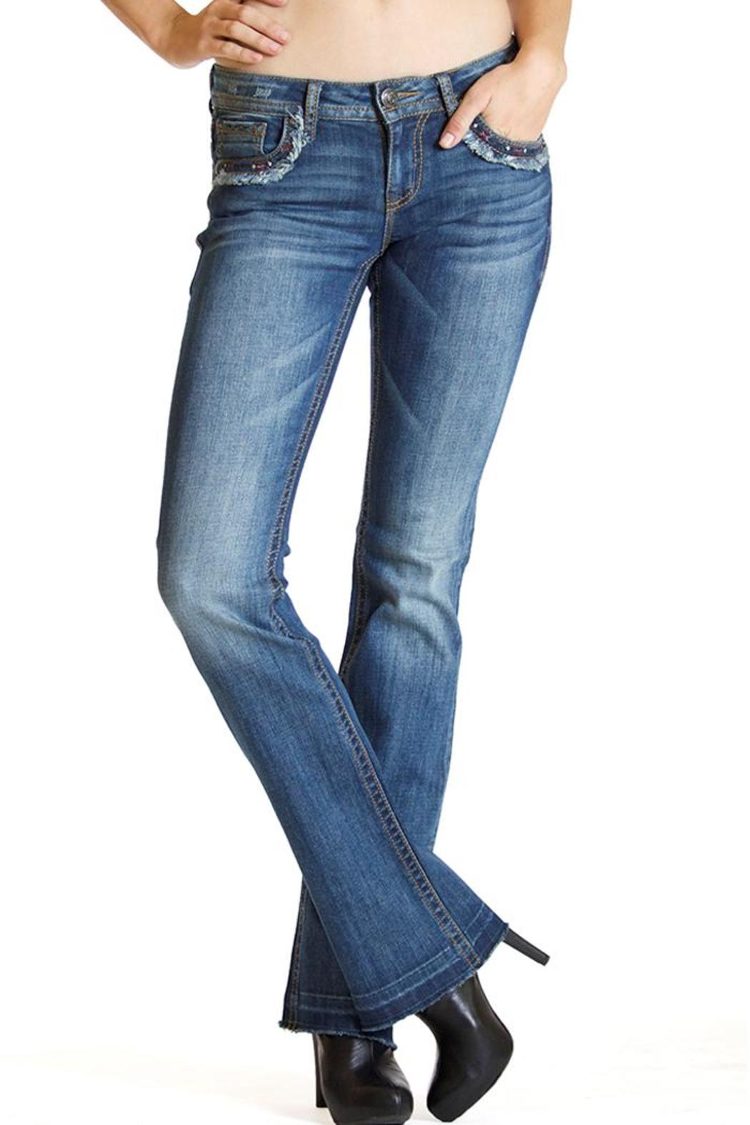 Grace in L.A. Fray Flap-Pocket Bootcut - Side Cropped Image