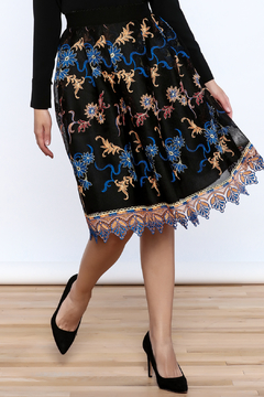 Shoptiques Product: Black Embroidered Pleated Skirt
