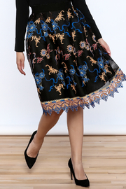 Gracia Black Embroidered Pleated Skirt - Product Mini Image