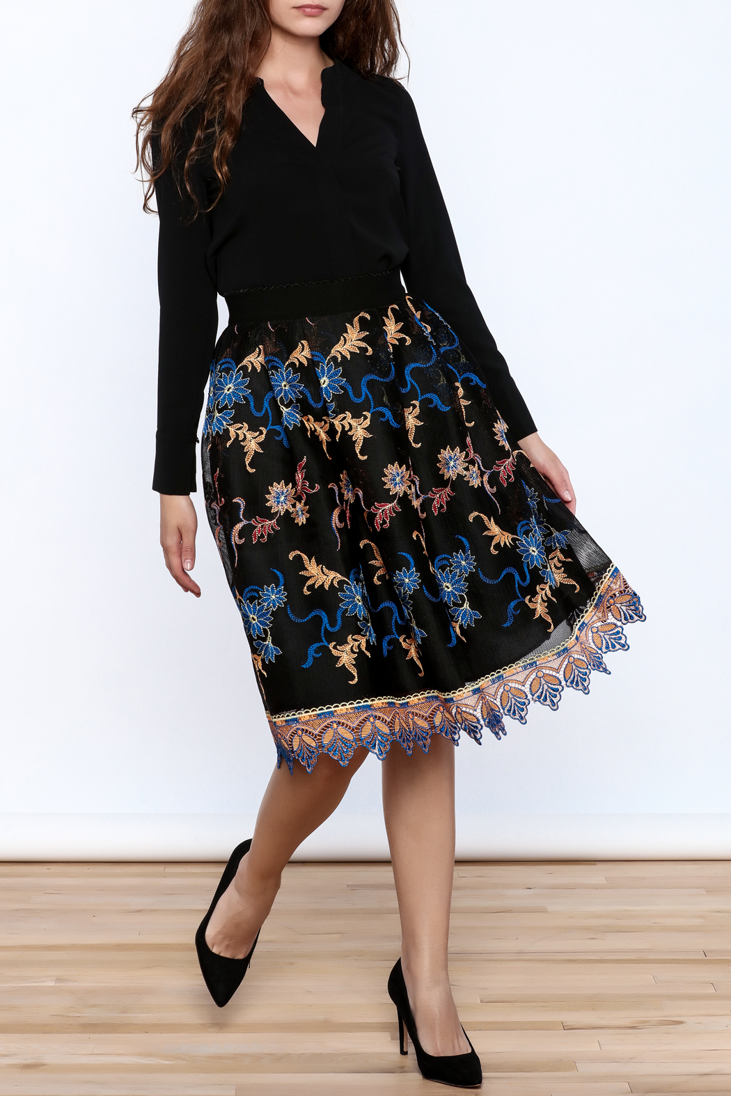 Gracia Black Embroidered Pleated Skirt - Front Full Image