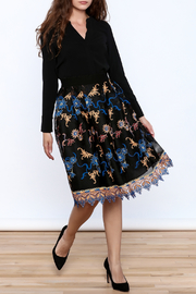 Gracia Black Embroidered Pleated Skirt - Front full body