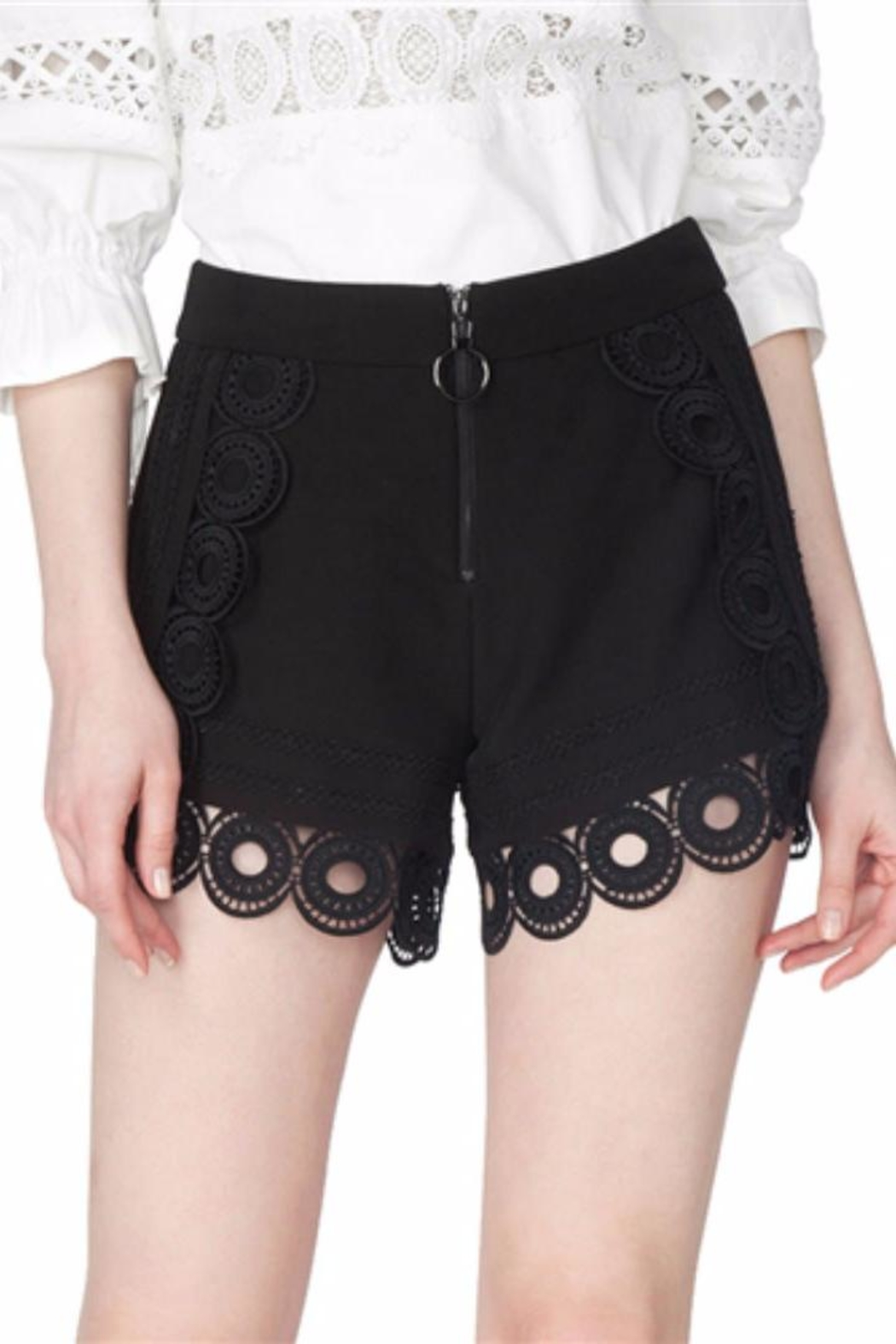 Gracia Black Eyelet Shorts - Main Image