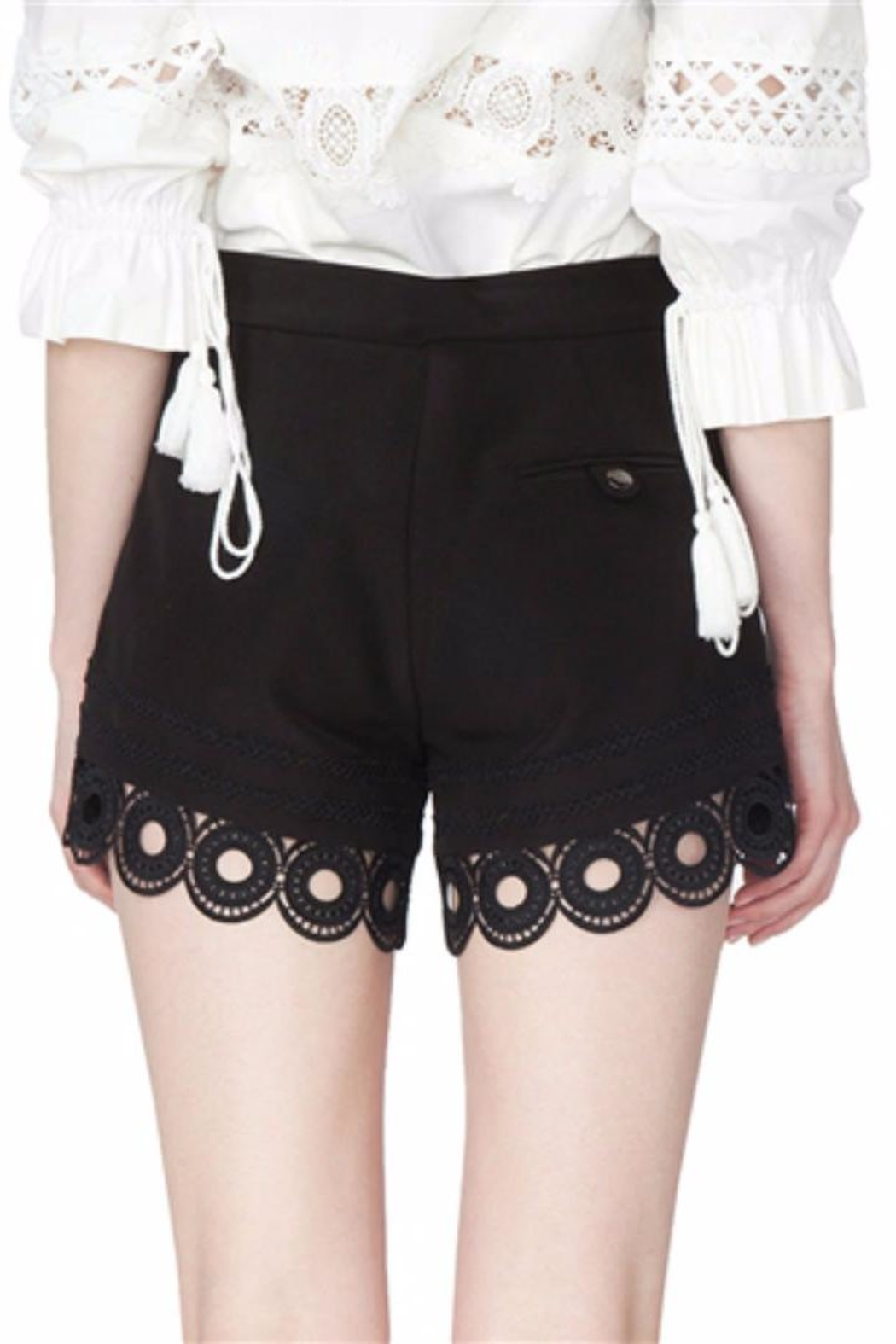 Gracia Black Eyelet Shorts - Side Cropped Image