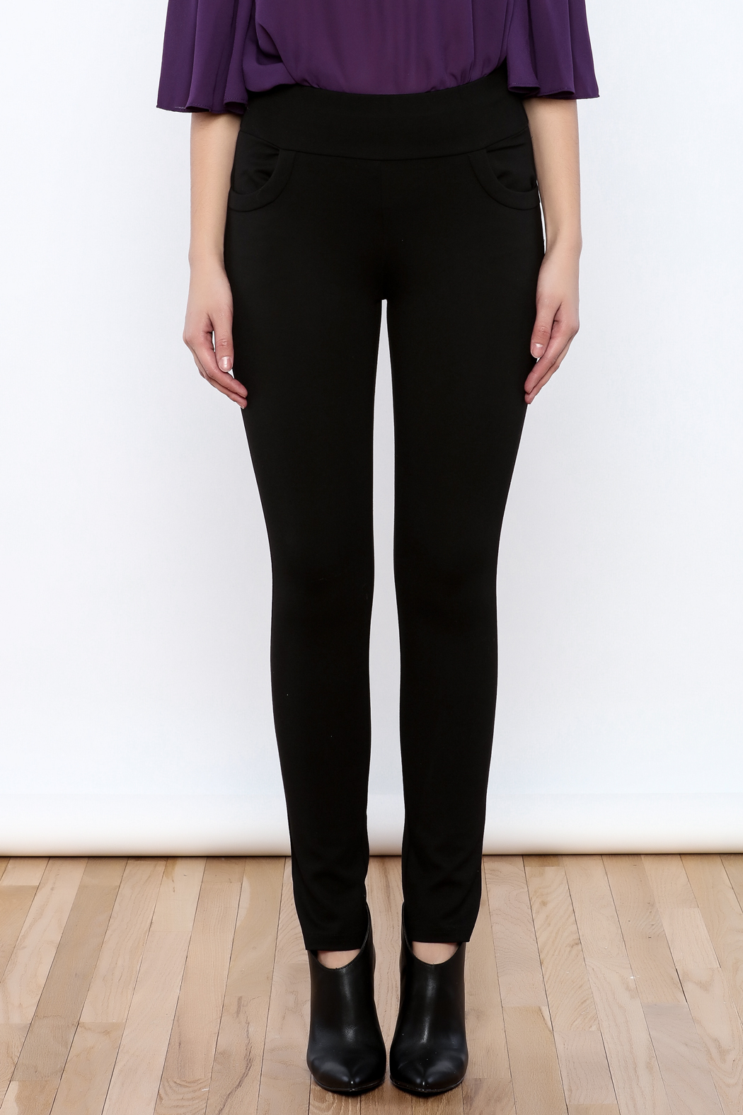 Gracia Black Stretchable Pants - Side Cropped Image