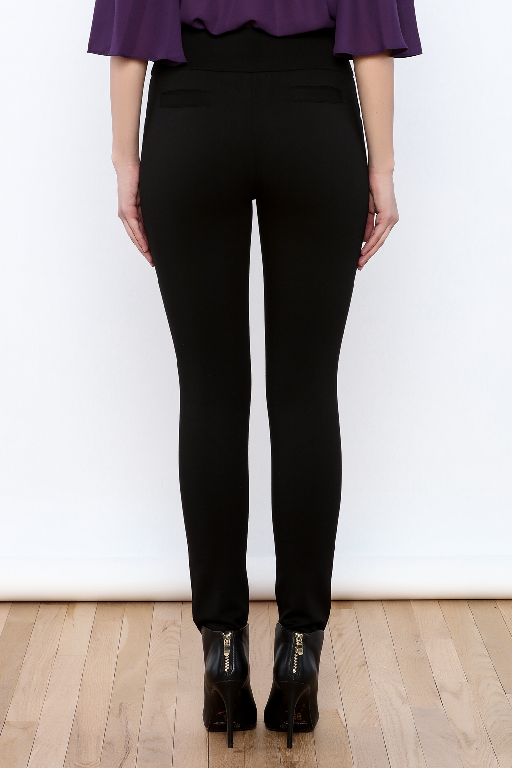 Gracia Black Stretchable Pants - Back Cropped Image