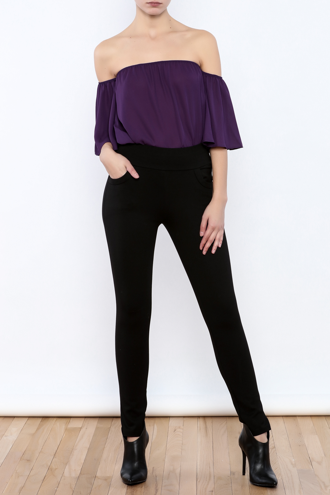 Gracia Black Stretchable Pants - Front Full Image