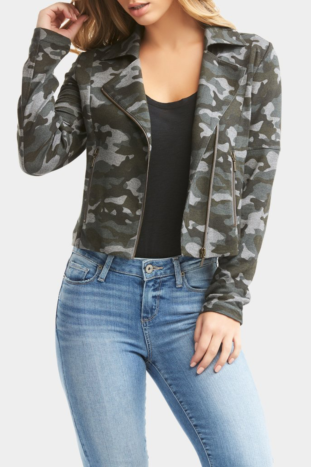Tart Collections Gracia French Terry Moto Jacket - Side Cropped Image