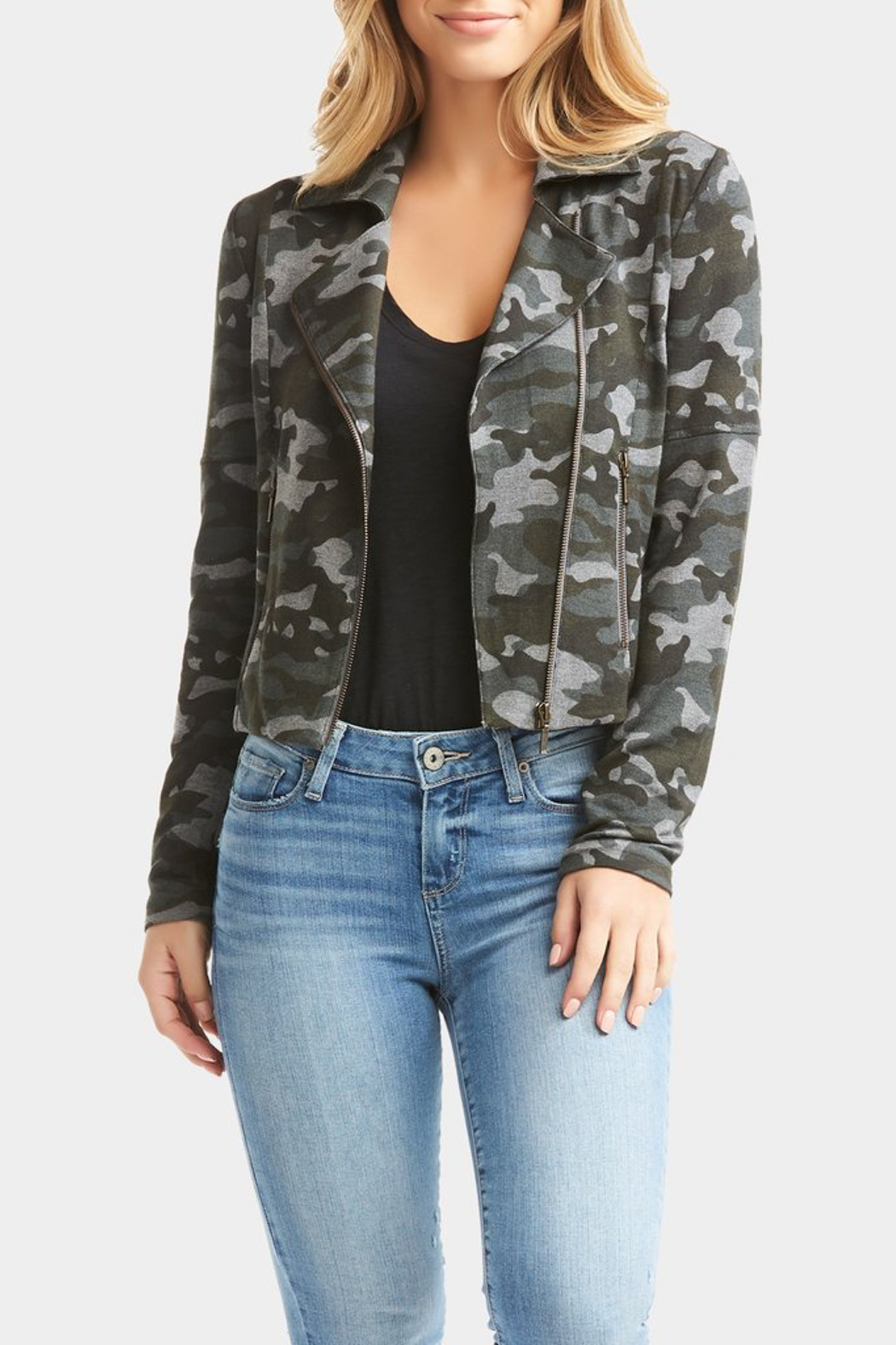 Tart Collections Gracia French Terry Moto Jacket - Front Full Image