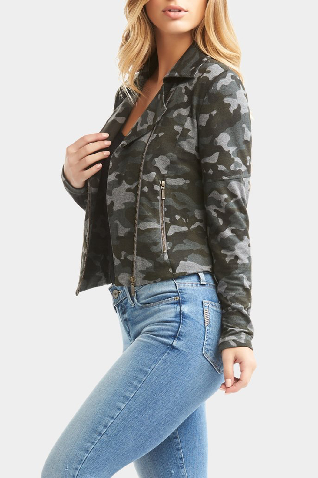 Tart Collections Gracia French Terry Moto Jacket - Back Cropped Image