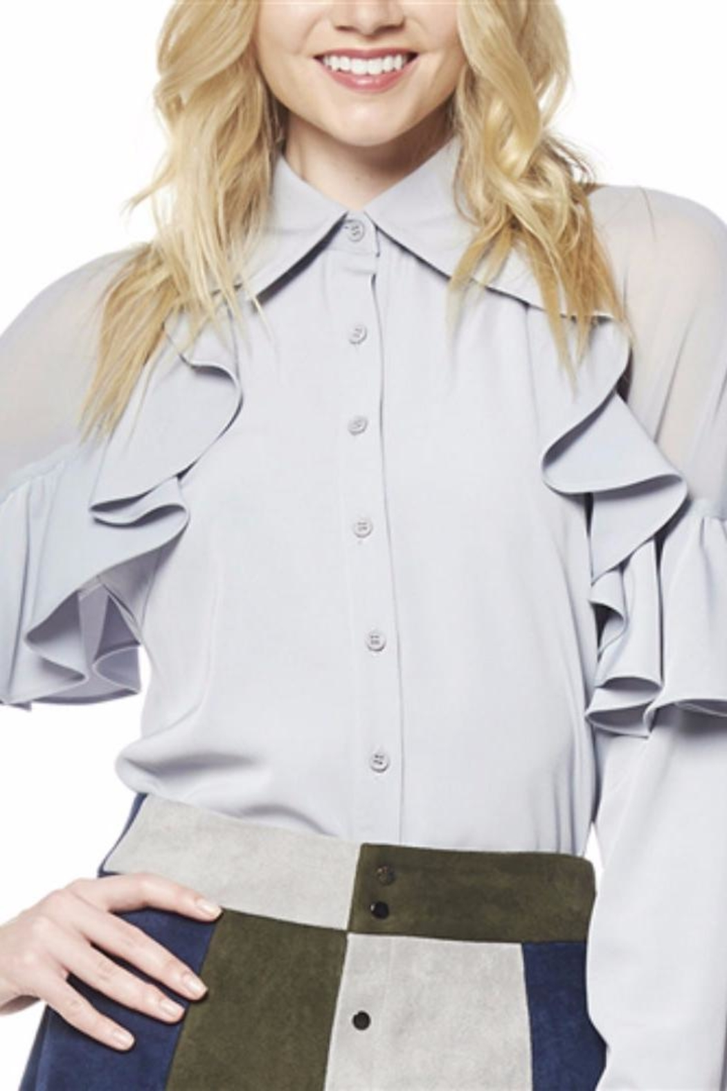 Gracia Grey Ruffle Blouse - Front Cropped Image