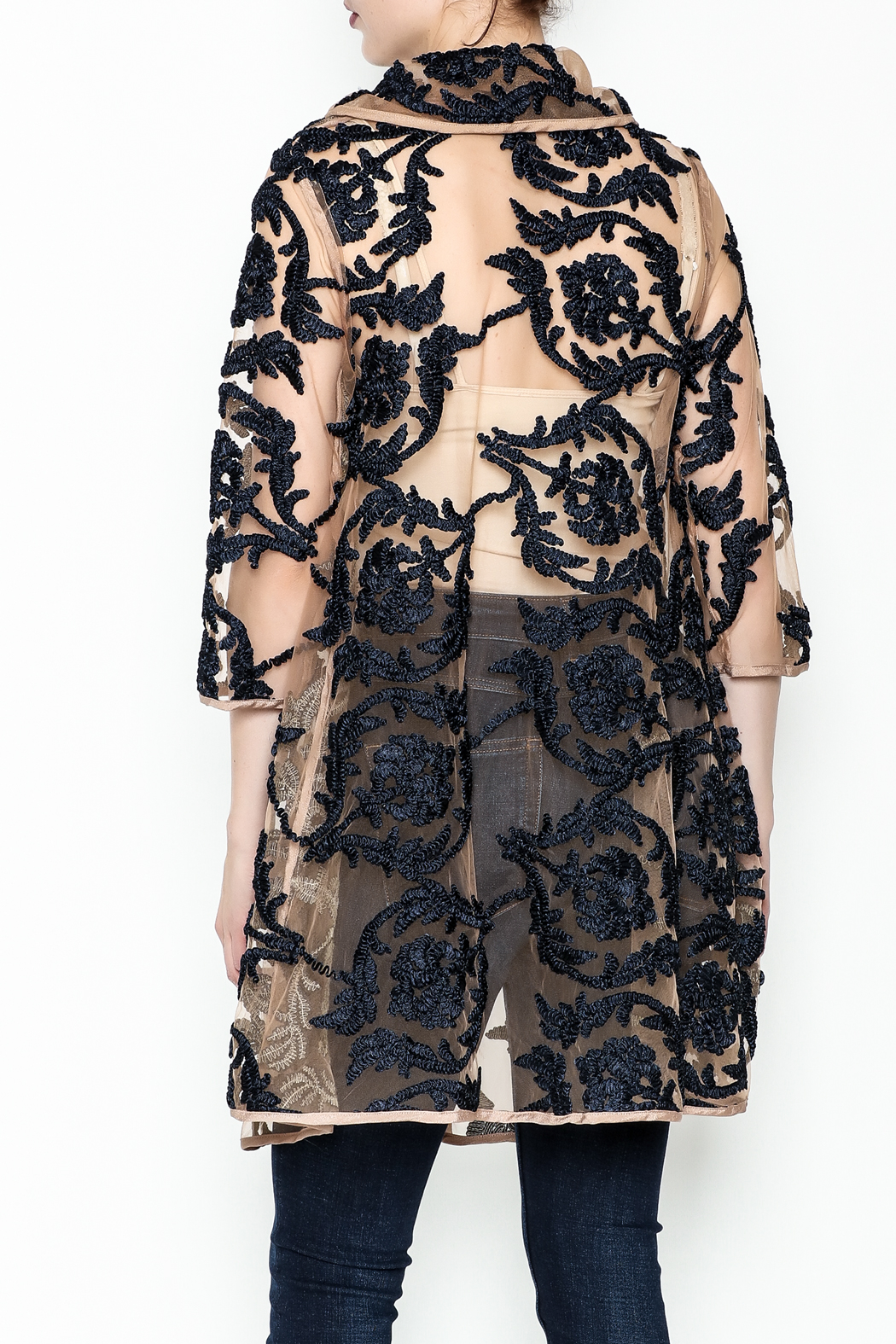 Gracia Embroidered Jacket - Back Cropped Image