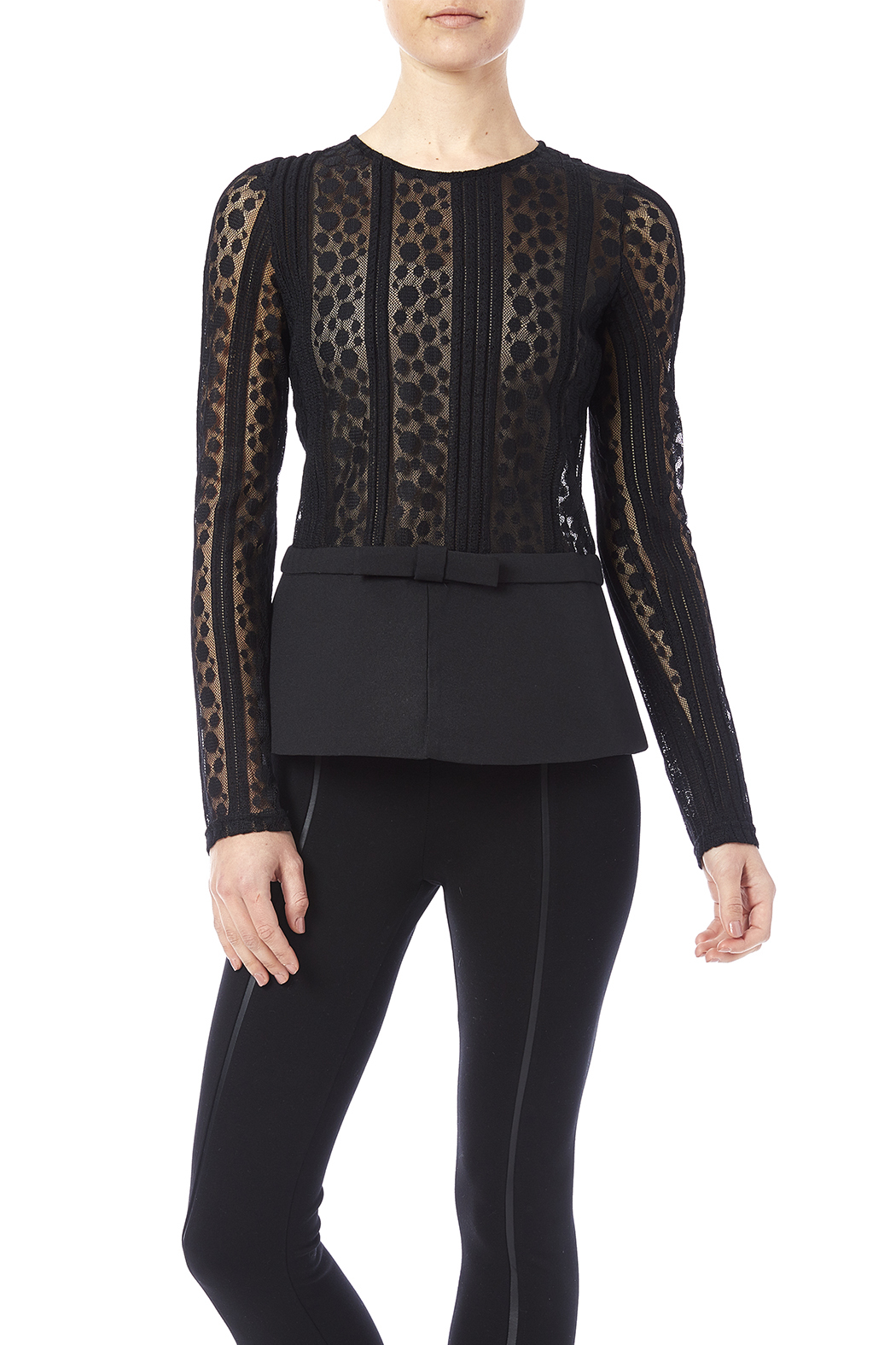 Black Lace Peplum Blouse